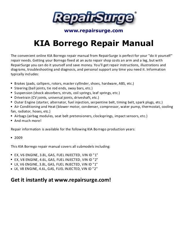 kia borrego repair manual 2009 rh slideshare net Kia Borrego Interior 2016 Kia Borrego