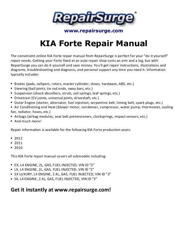 kia forte repair manual 2010 2012 rh slideshare net Service Repair Manuals Online 1997 kia sportage service repair manual download