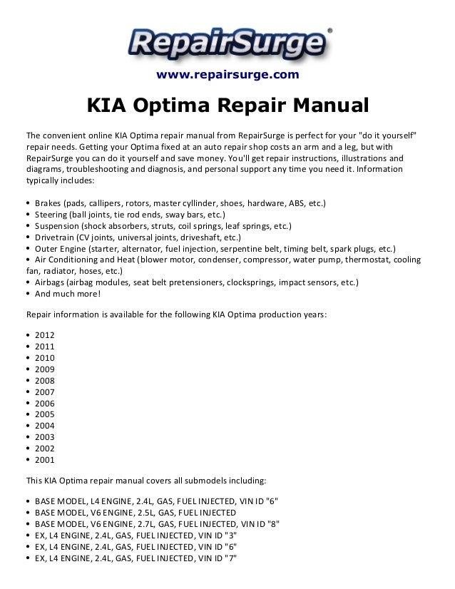 kia optima repair manual 2001 2012 rh slideshare net 06 Kia Optima Repair Manual 2004 kia optima lx repair manual