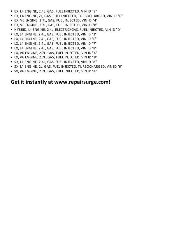 Kia optima repair manual 2001 2012 – Kia Optima 2001 Engine Diagram