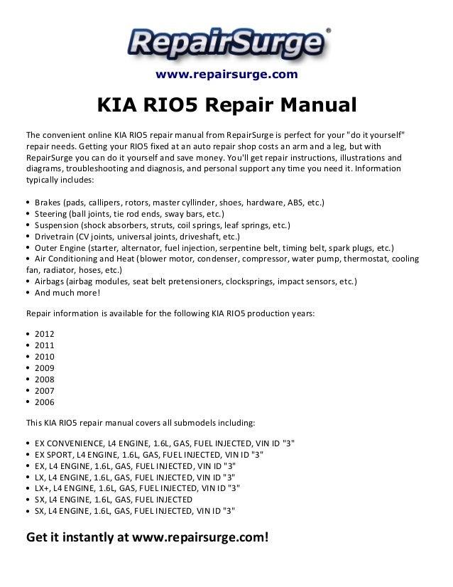 Repairsurge KIA Rio5 Repair Manual The Convenient Online: 2006 KIA Rio Engine Diagram At Satuska.co