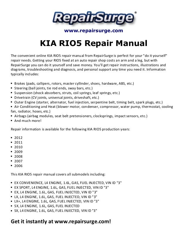 kia rio5 repair manual 2006 2012 rh slideshare net kia rio 2005 service repair manual 2011 Kia Rio Problems