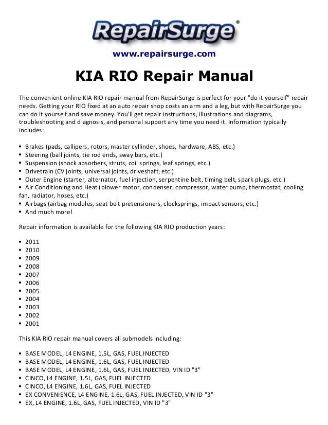 kia rio repair manual 2001 2011 rh slideshare net kia rio service manual kia rio workshop manual free download