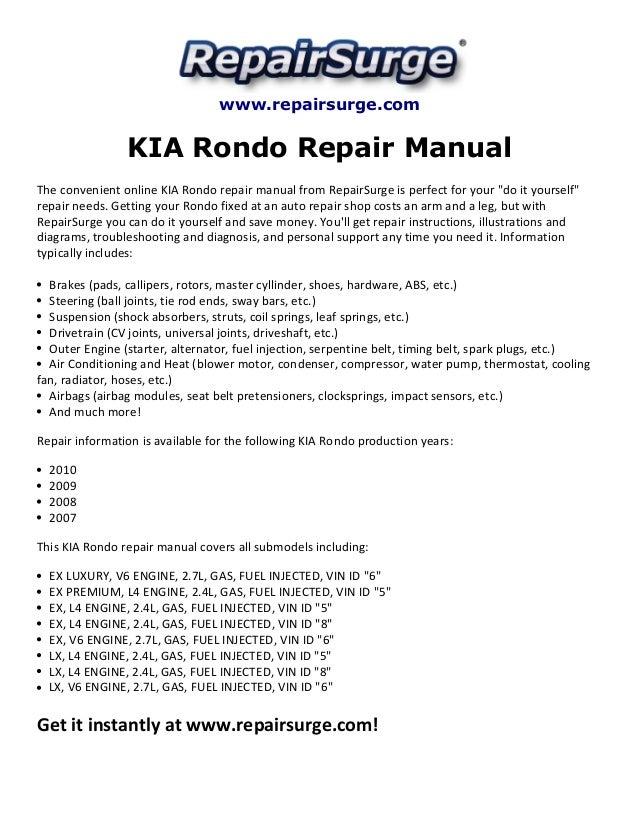 kia rondo repair manual 2007 2010 rh slideshare net 2003 Kia Rio Engine Diagram 2007 Kia Rondo Fuel Parts