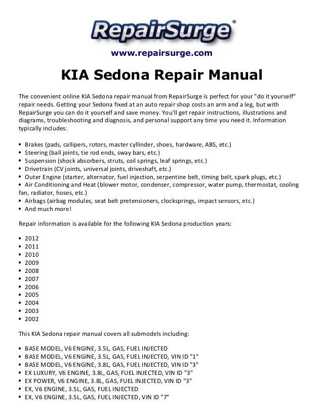Repairsurge KIA Sedona Repair Manual The Convenient Online: 2002 KIA Sedona Engine Schematics At Goccuoi.net