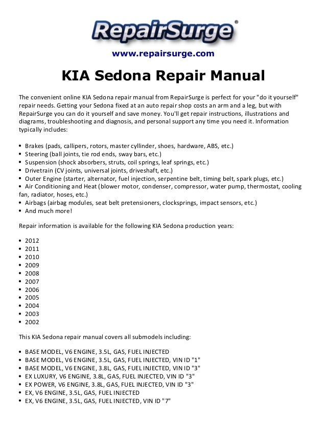 kia sedona repair manual 2002 2012 rh slideshare net manual de kia sedona 2003 en español kia sedona 2003 manual pdf