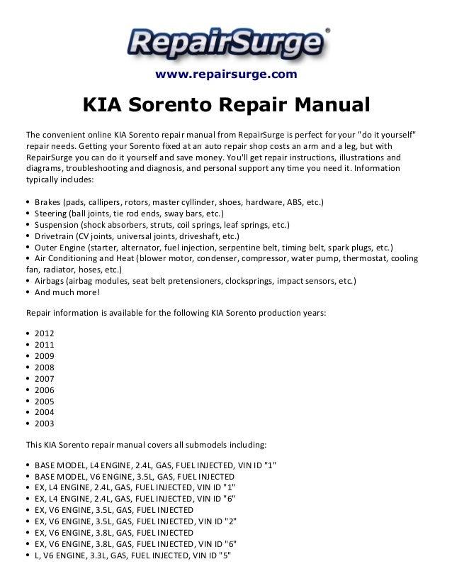 Kia sorento repair manual 2003 2012 – Kia Sorento Brake Wiring Diagrams