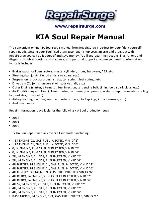 kia soul repair manual 2010 2012 rh slideshare net 2015 kia soul repair manual 2015 kia soul repair manual