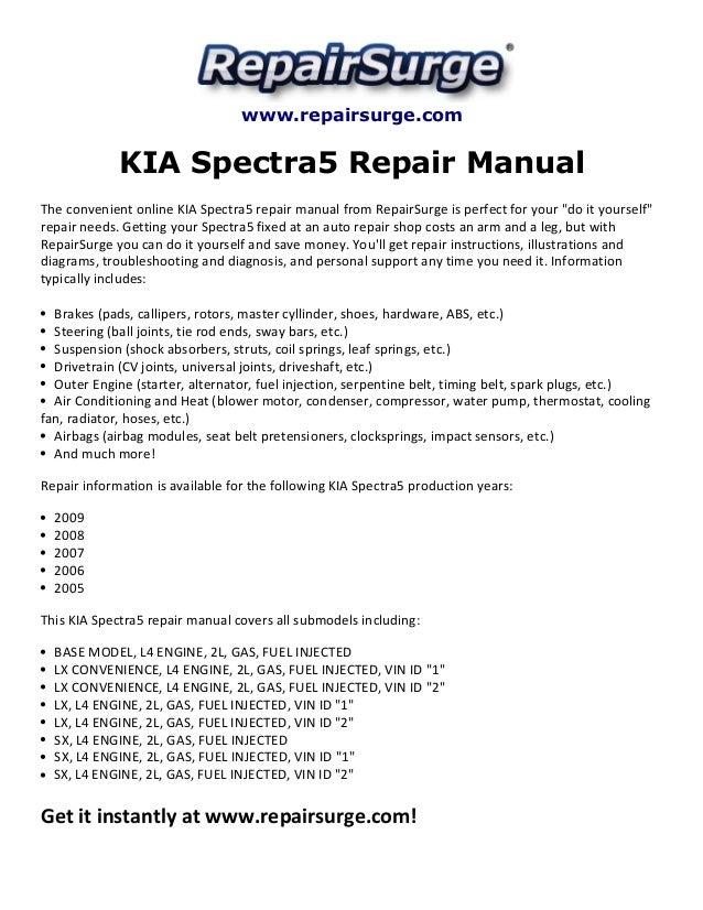 kia spectra5 repair manual 2005 2009 rh slideshare net 2008 Kia Spectra5 2006 Kia Spectra5