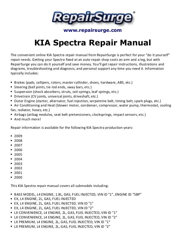 Kia Spectra Repair Manual 2000 2009rhslideshare: 2004 Kia Spectra Alternator Wiring Diagram At Gmaili.net