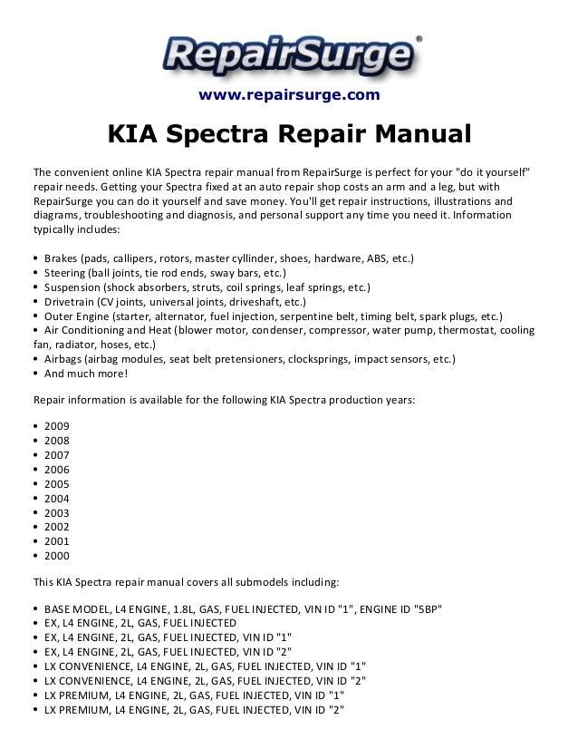 2009 kia spectra engine diagram kia spectra repair manual 2000 2009  kia spectra repair manual 2000 2009