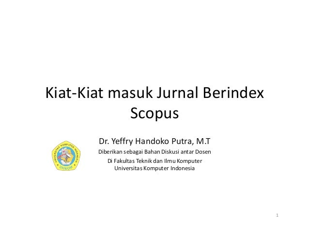 Kiat Masuk Jurnal Internasional Berindex Scopus