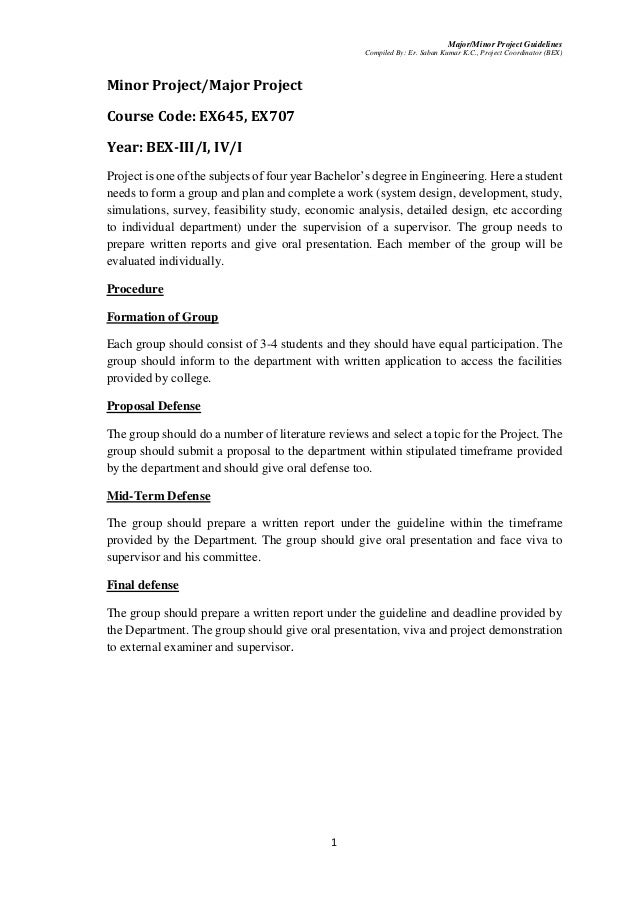 Major/Minor Project Guidelines for BE-Electronics and Communication