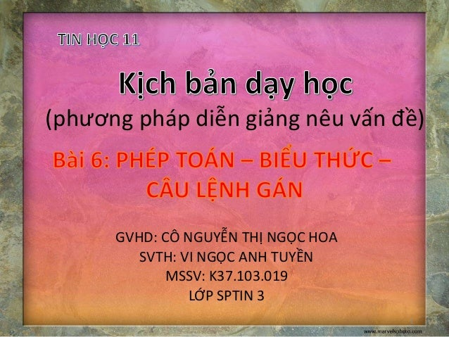 (phương pháp diễn giảng nêu vấn đề)  GVHD: CÔ NGUYỄN THỊ NGỌC HOA  SVTH: VI NGỌC ANH TUYỀN  MSSV: K37.103.019  LỚP SPTIN 3...