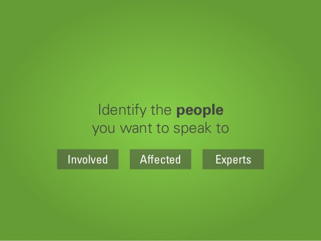 Identify the people you want to speak to AffectedInvolved Experts