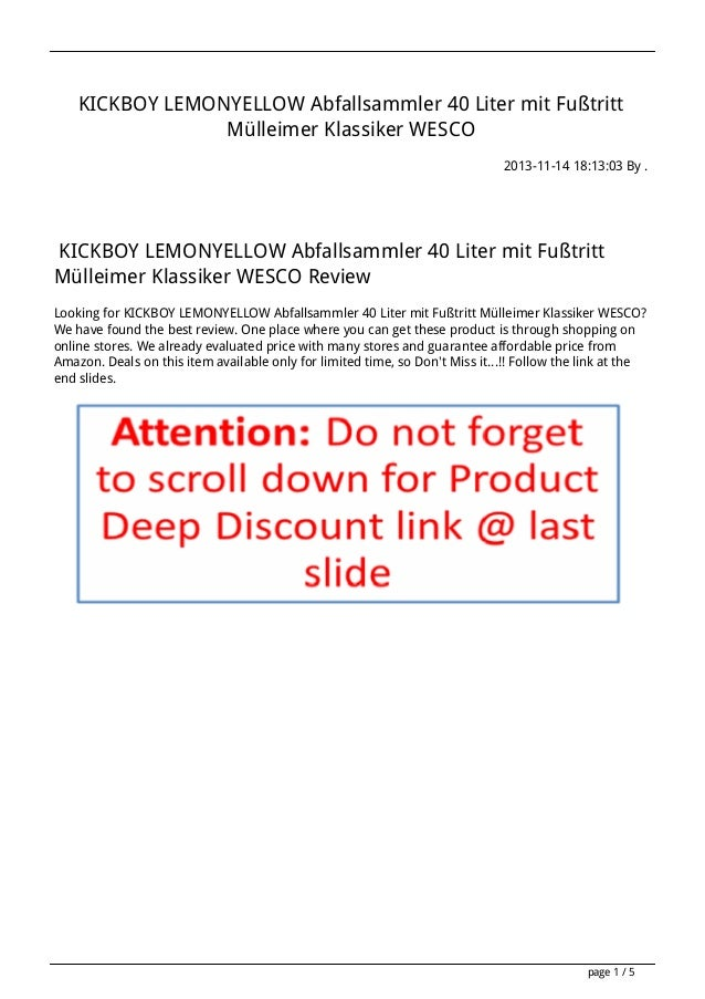 KICKBOY LEMONYELLOW Abfallsammler 40 Liter mit Fußtritt Mülleimer Klassiker WESCO 2013-11-14 18:13:03 By .  KICKBOY LEMONY...
