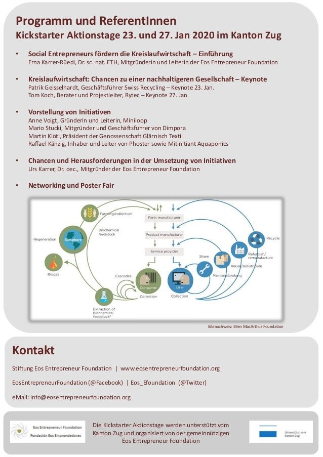 Die Kickstarter Aktionstage werden unterstützt vom Kanton Zug und organisiert von der gemeinnützigen Eos Entrepreneur Foun...