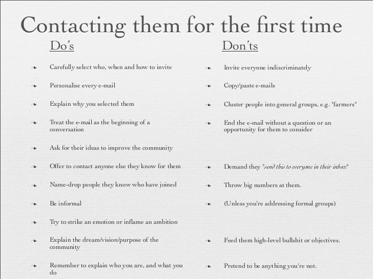 Contacting them for the first time      Do's                                                   Don'ts n   Carefully select...