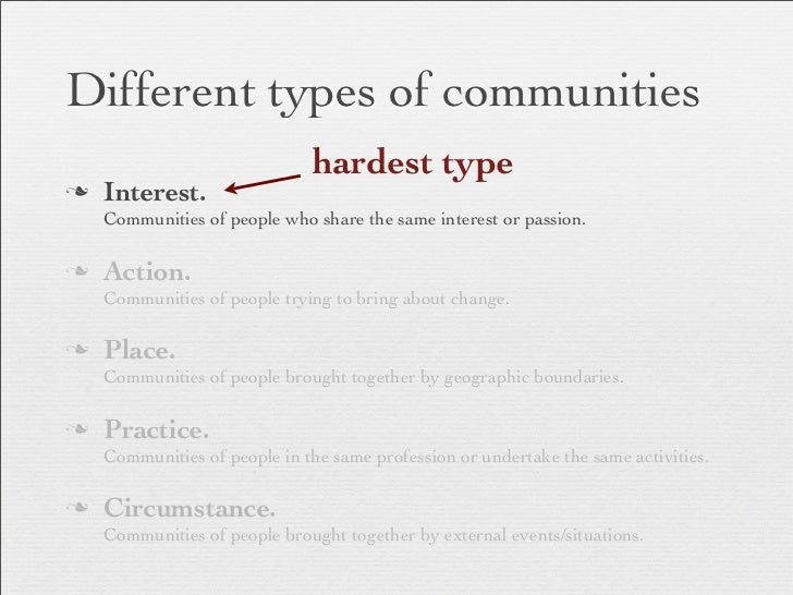 Different types of communities                               hardest typen   Interest.     Communities of people who shar...