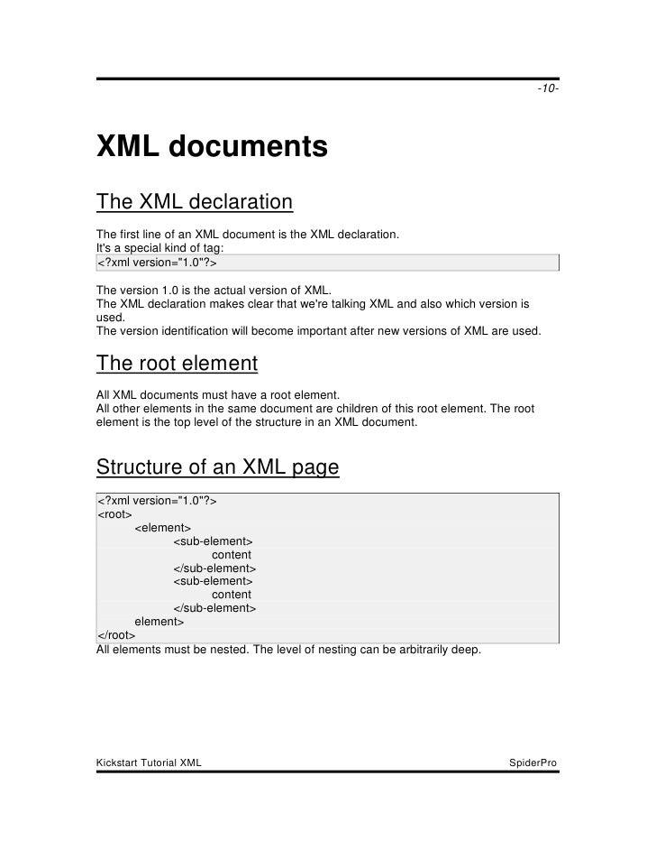 Kickstart Tutorial Xml
