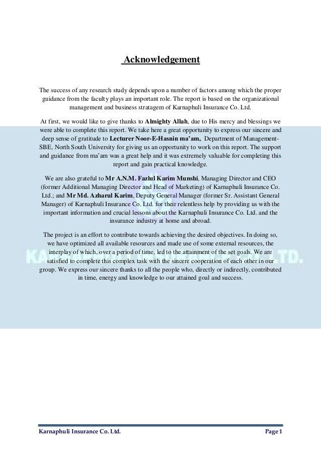 Organizational Management Report on Karnaphuli Insurance Co. Ltd. Slide 2