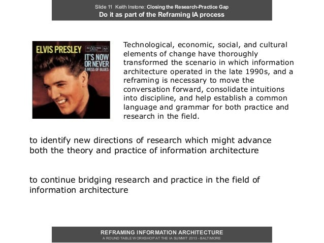 Slide 11 Keith Instone: Closing the Research-Practice Gap                 Do it as part of the Reframing IA process       ...