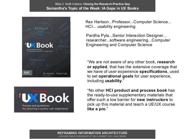 Slide 2 Keith Instone: Closing the Research-Practice GapSamanthas Topic of the Week: IA Gaps in UX Books                  ...