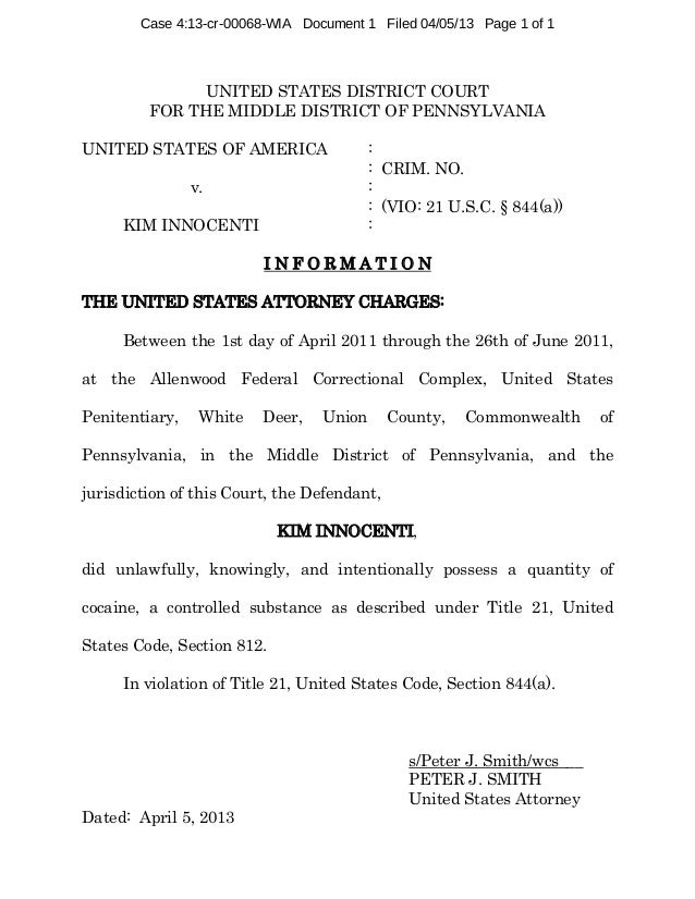 Case 4:13-cr-00068-WIA Document 1 Filed 04/05/13 Page 1 of 1  UNITED STATES DISTRICT COURT FOR THE MIDDLE DISTRICT OF PENN...