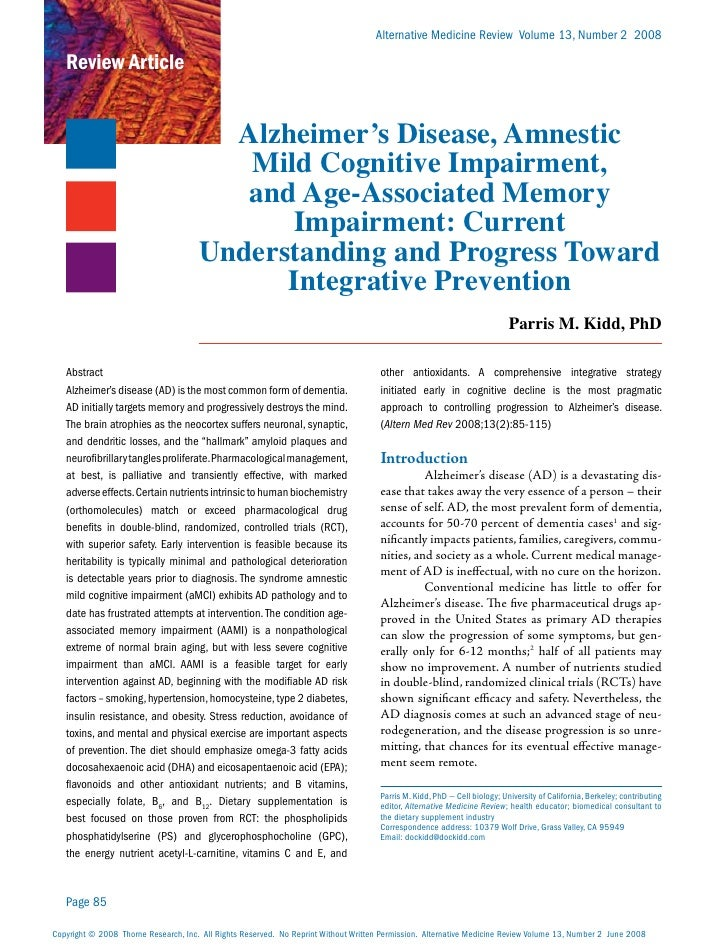 Alternative Medicine Review Volume 13, Number 2 2008   Review Article                                        Alzheimer's D...