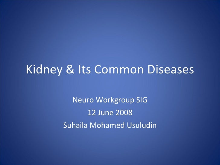 Kidney & Its Common Diseases Neuro Workgroup SIG 12 June 2008 Suhaila Mohamed Usuludin