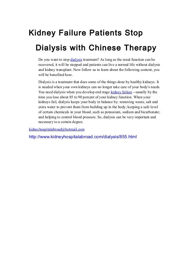 Kidney Failure Patients Stop Dialysis With Chinese Therapy