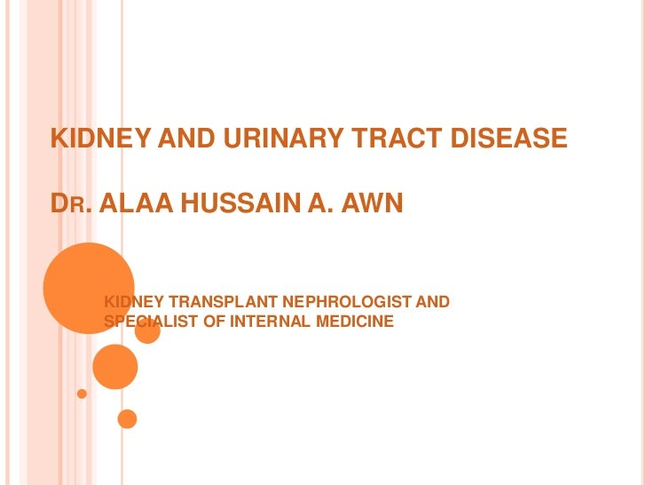 KIDNEY AND URINARY TRACT DISEASEDR. ALAA HUSSAIN A. AWN   KIDNEY TRANSPLANT NEPHROLOGIST AND   SPECIALIST OF INTERNAL MEDI...