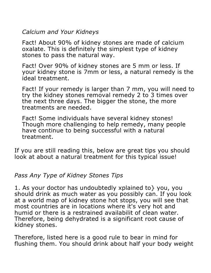 How Do You Pass A Kidney Stone Naturally