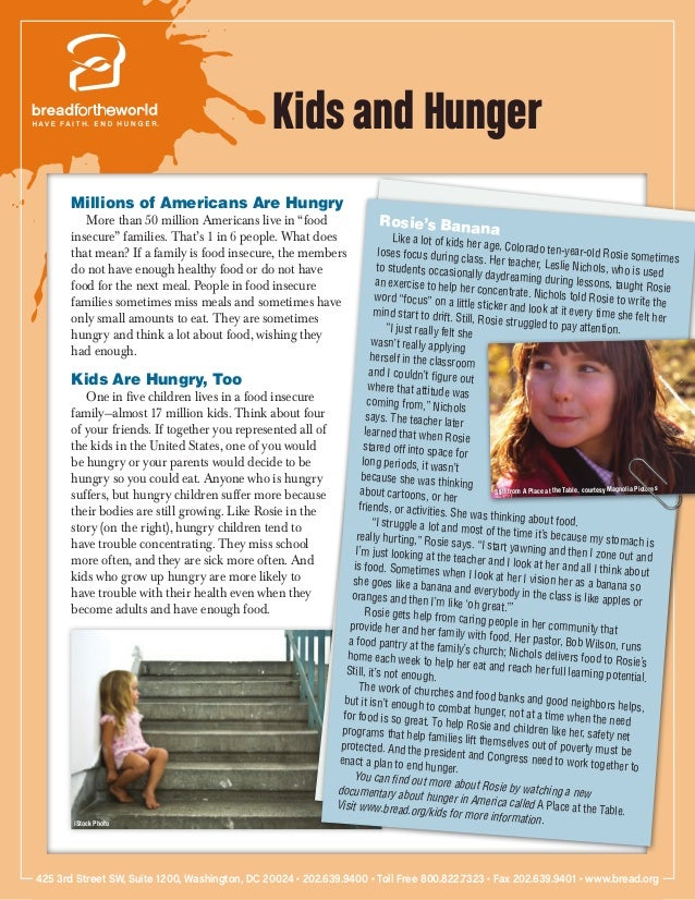 "Kids and Hunger       Millions of Americans Are Hungry          More than 50 million Americans live in ""food              ..."