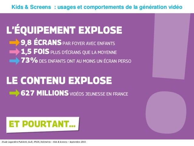Kids & Screens : usages et comportements de la génération vidéo Etude Lagardère Publicité, Gulli, IPSOS, Holimetrix – Kids...