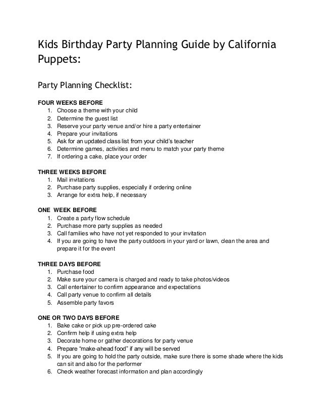 Kids Birthday Party Planning Guide By California Puppets Checklist FOUR WEEKS BEFORE
