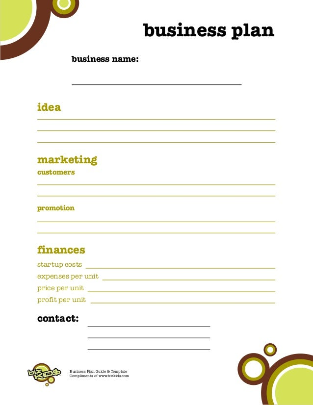 Kids business plan pricing profit 5 tm business plan accmission Image collections