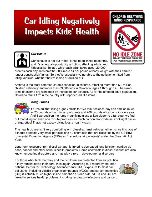 Car Idling Negatively       Impacts Kids' Health             Our Health             Car exhaust is not our friend. It has ...
