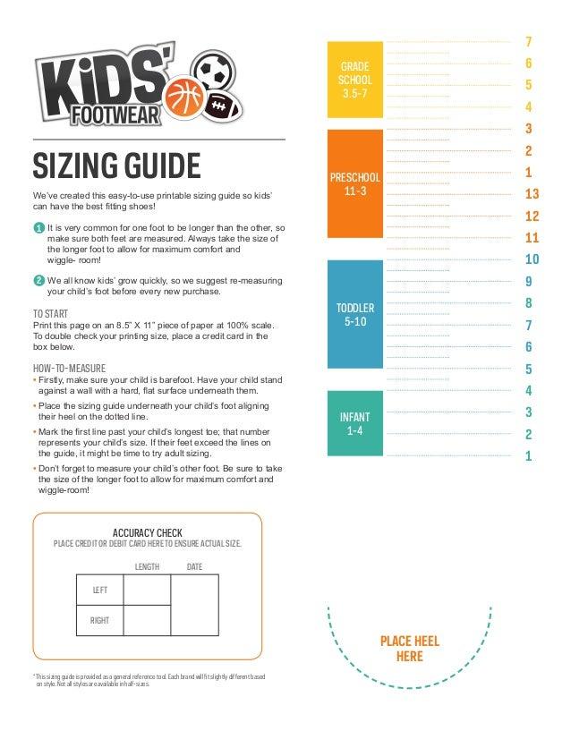 Sport Chek Kids' Footwear Sizing Guide