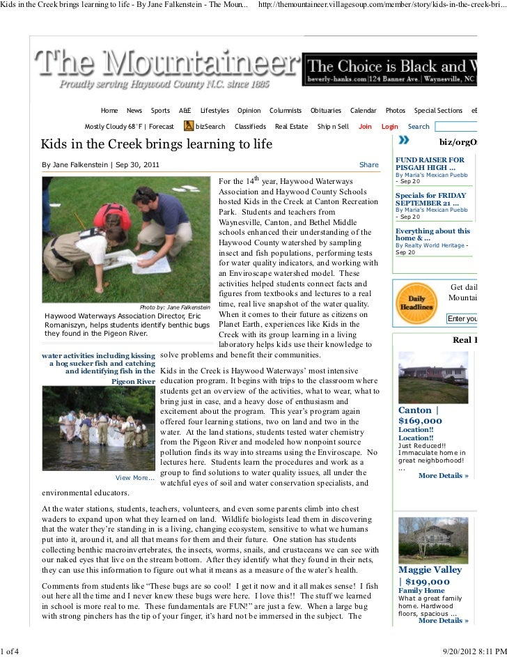 Kids in the Creek brings learning to life - By Jane Falkenstein - The Moun...         http://themountaineer.villagesoup.co...