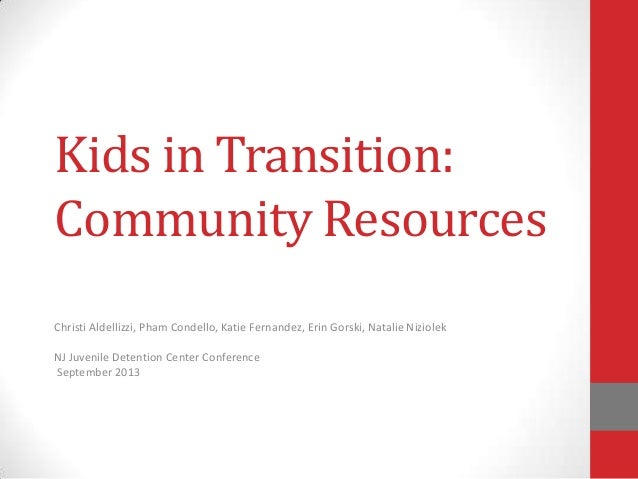 Kids in Transition: Community Resources Christi Aldellizzi, Pham Condello, Katie Fernandez, Erin Gorski, Natalie Niziolek ...