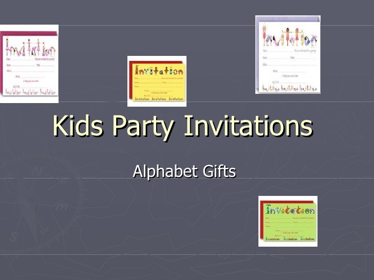 Kids Party Invitations  Alphabet Gifts