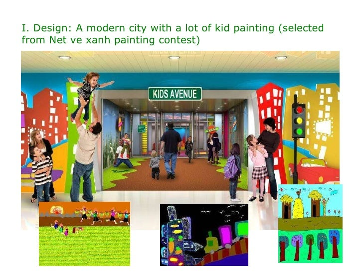 I. Design: A modern city with a lot of kid painting (selected from Net ve xanh painting contest)