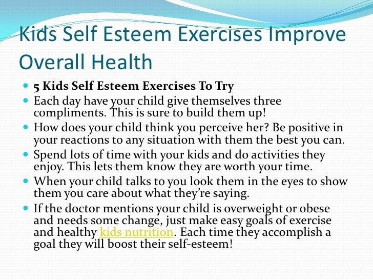 Kids self esteem exercises improve overall health