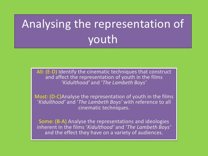 Analysing the representation of youth<br />All: (E-D) Identify the cinematic techniques that construct and affect the repr...