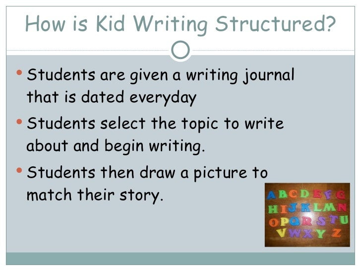 How is Kid Writing Structured? <ul><li>Students are given a writing journal that is dated everyday  </li></ul><ul><li>Stud...