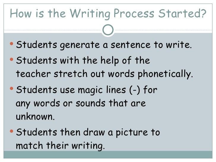 How is the Writing Process Started? <ul><li>Students generate a sentence to write. </li></ul><ul><li>Students with the hel...