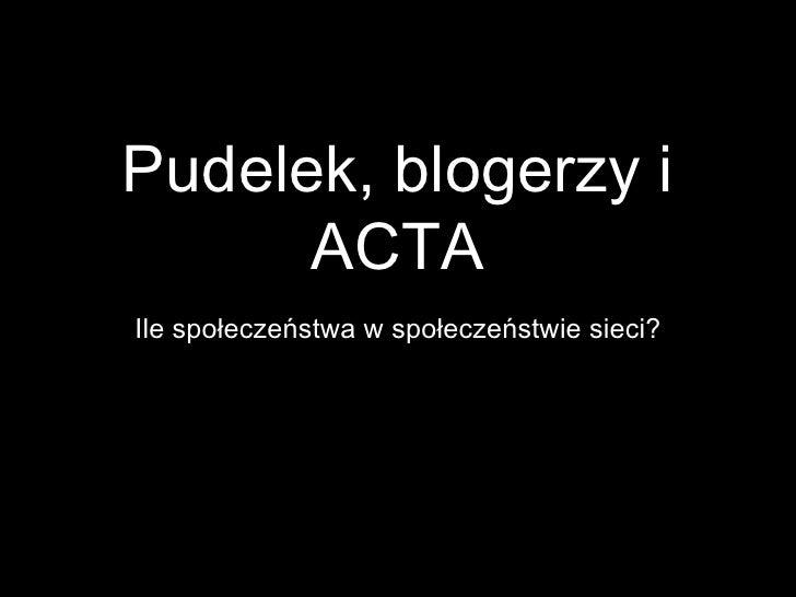 Pudelek, blogerzy i      ACTAIle społeczeństwa w społeczeństwie sieci?