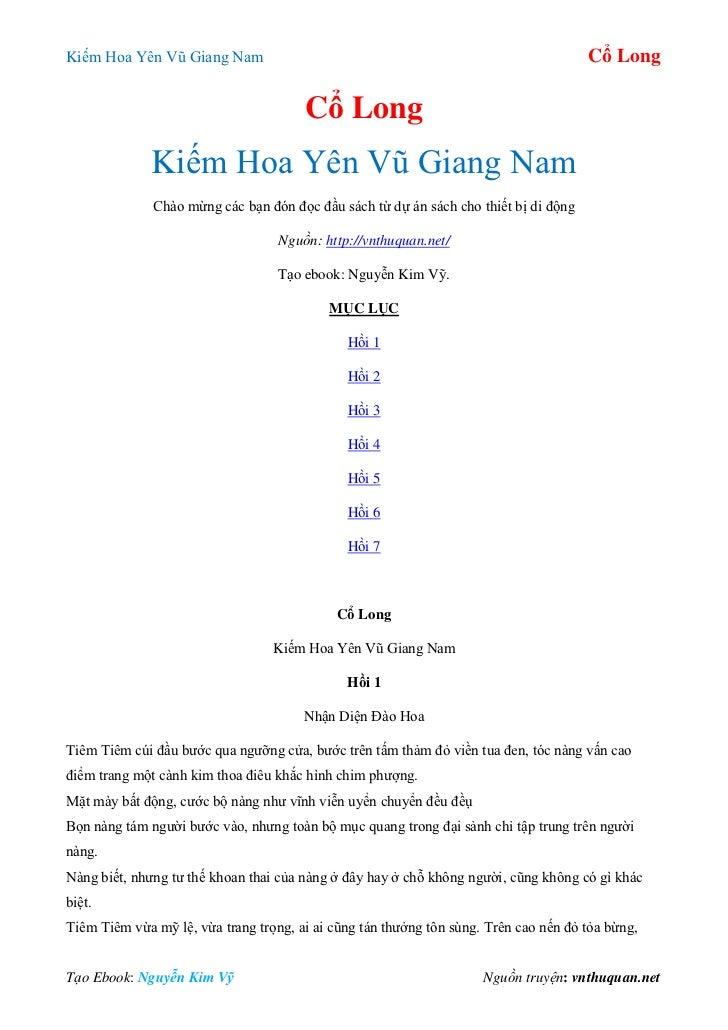 Kiếm Hoa Yên Vũ Giang Nam                                                             Cổ Long                             ...