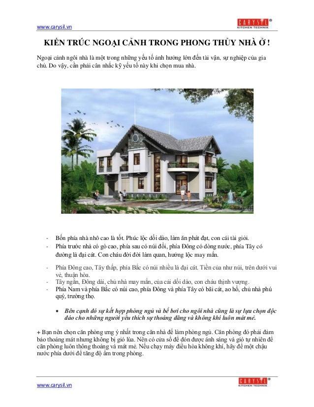 www.carysil.vnwww.carysil.vnKIẾN TRÚC NGOẠI CẢNH TRONG PHONG THỦY NHÀ Ở !Ngoại cảnh ngôi nhà là một trong những yếu tố ảnh...